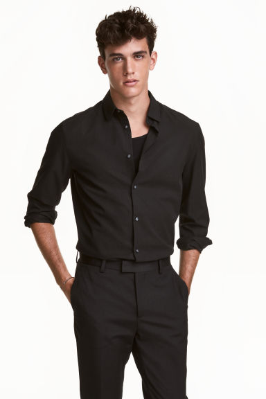Shirt Slim fit - Black - Men | H&M CN