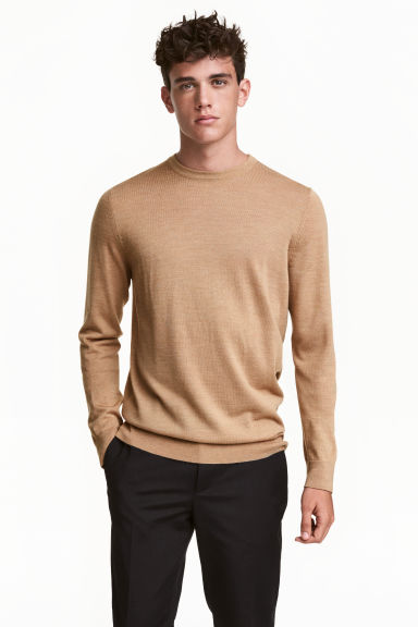 Merino-blend jumper - Beige marl - Men | H&M GB