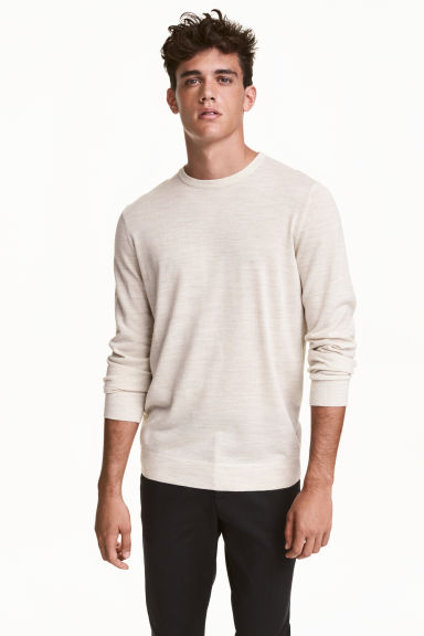 Merino-blend jumper - Light beige marl - Men | H&M CN