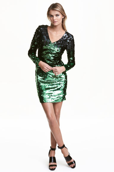 Sequined dress - Black/Green - Ladies | H&M CN 1