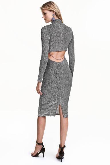 Turtleneck dress - Silver/Glittery -  | H&M CN 1