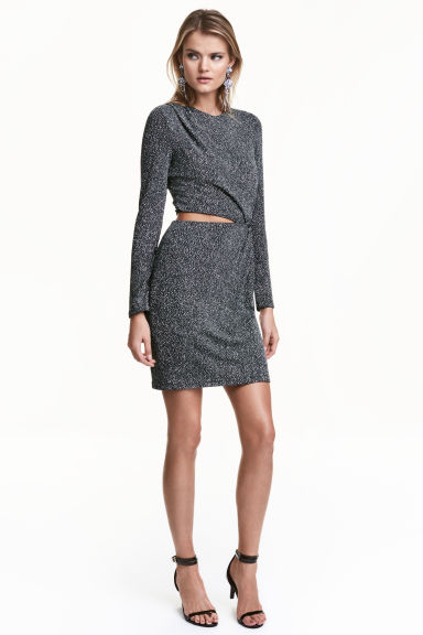 Glittery dress - Dark grey/Silver - Ladies | H&M CA