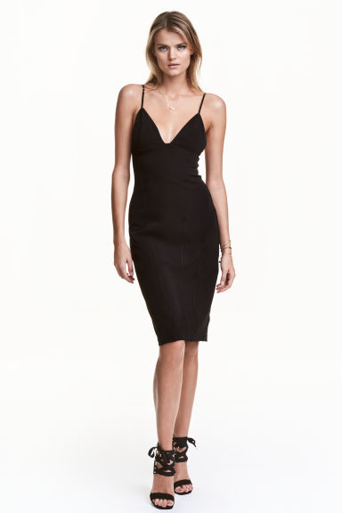 Fitted strappy dress - Black -  | H&M GB 1