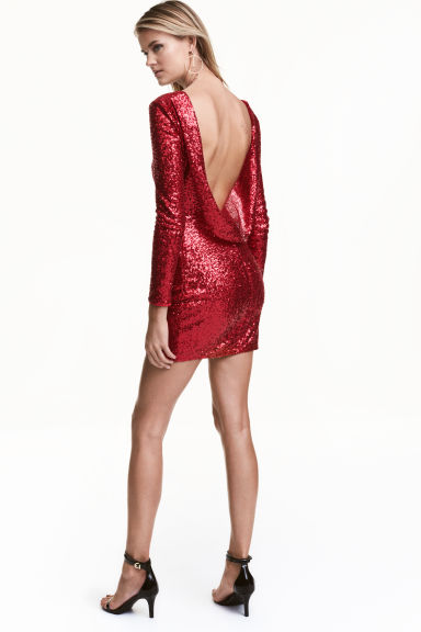 Sequined dress - Red -  | H&M CN 1