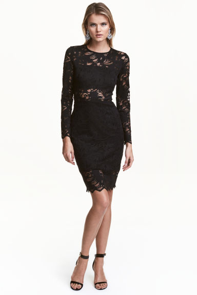 Knee-length lace dress - Black - Ladies | H&M CN 1
