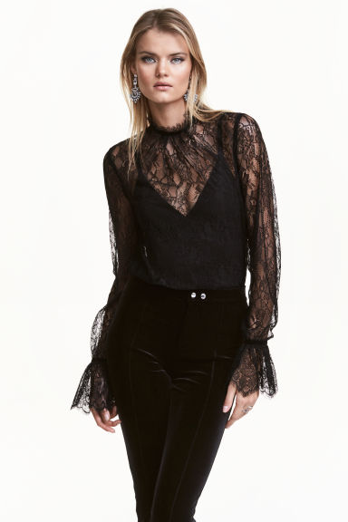 Lace Blouse With Frilled Cuffs Black H Amp M Gb