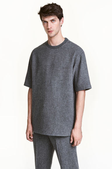 Wool-blend T-shirt - Grey/Striped - Men | H&M CN 1
