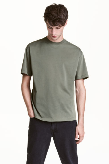 Wide T-shirt - Khaki green - Men | H&M CN 1