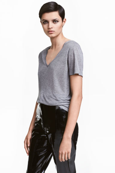 Silk-blend top - Grey marl - Ladies | H&M CN 1