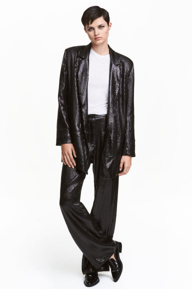 Wide sequined trousers - Black - Ladies | H&M CN 1