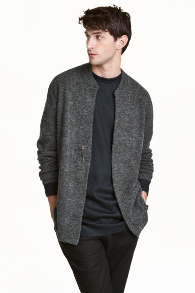 Cardigan in an alpaca blend - Dark grey marl - Men | H&M CN 1