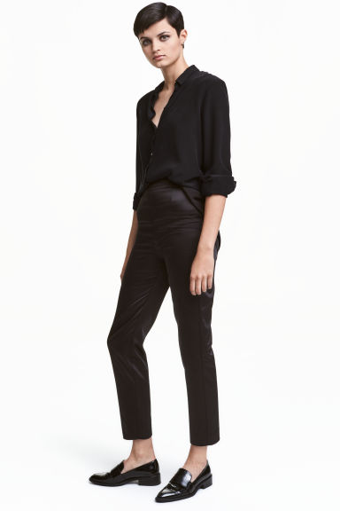 Pantaloni in satin - Nero - DONNA | H&M IT 1