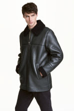 Pile-lined leather jacket - Anthracite grey - Men | H&M CN 1