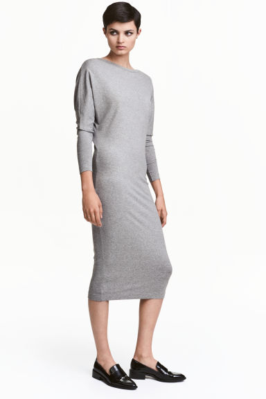 Calf-length dress - Grey marl - Ladies | H&M CN 1