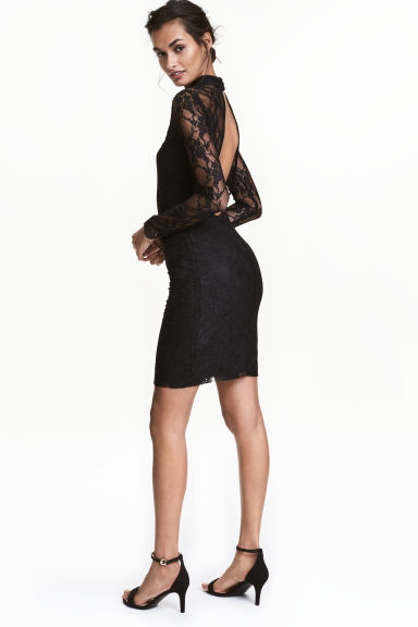 Long-sleeved lace dress - Black - Ladies | H&M CN 1