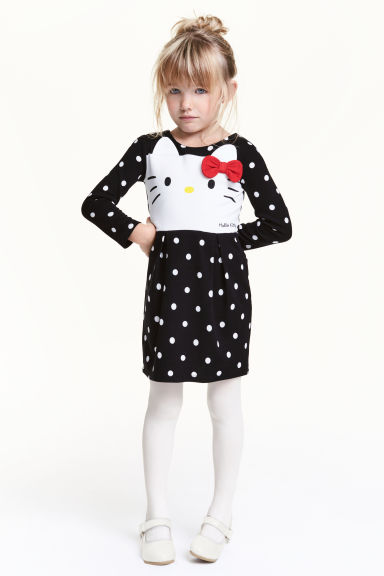 汗布连衣裙 - 黑色/Hello Kitty - Kids | H&M CN 1