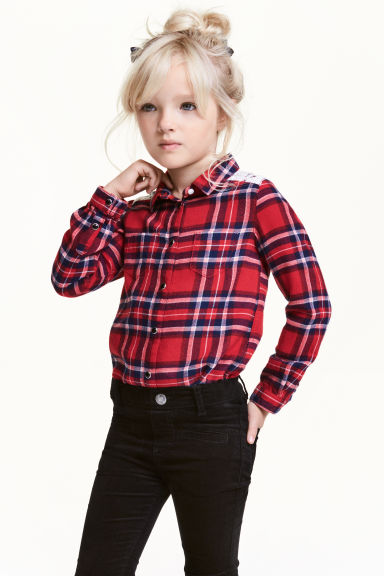 Flannel shirt with lace - Red/Checked - Kids | H&M CN 1