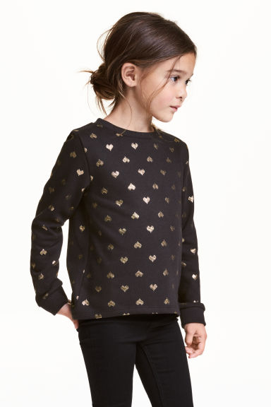 Printed sweatshirt - Black/Heart - Kids | H&M CN 1