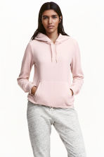 Velour hooded top - Light pink - Ladies | H&M CN 1