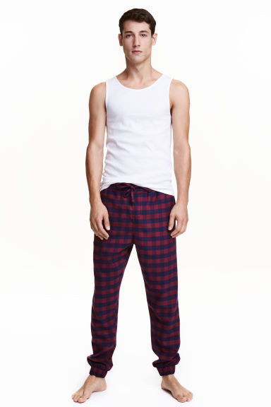 Flannel joggers - Burgundy/Checked - Men | H&M CN 1