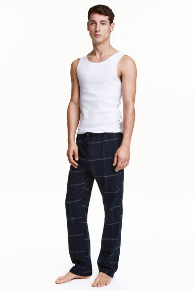 Cotton flannel pyjama bottoms - Dark blue/Checked - Men | H&M CN 1