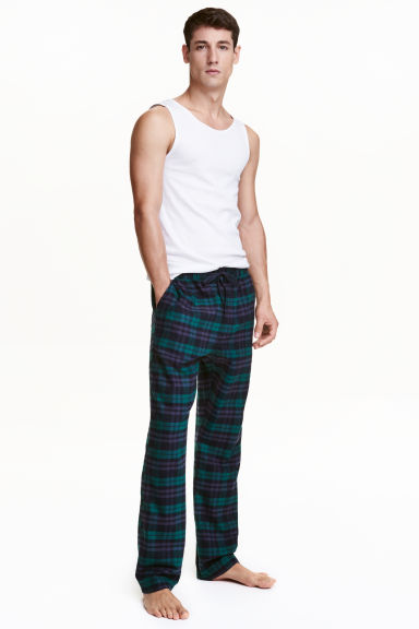 Cotton flannel pyjama bottoms - Dark green/Checked - Men | H&M CN