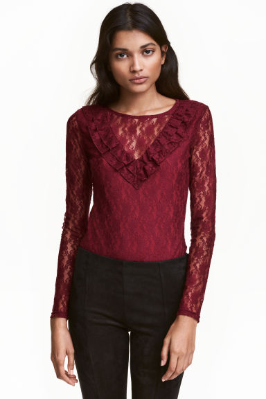 Lace body - Dark red - Ladies | H&M CN 1