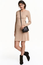 Ribbed dress - Dark beige - Ladies | H&M CN 1