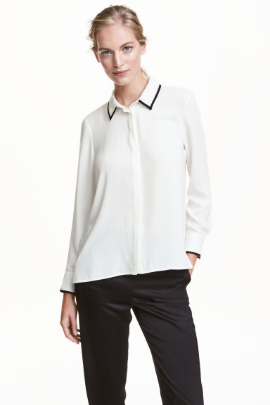 Camicetta colletto ricamato - Bianco - DONNA | H&M IT