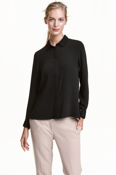 Blouse with embroidered collar - Black - Ladies | H&M GB