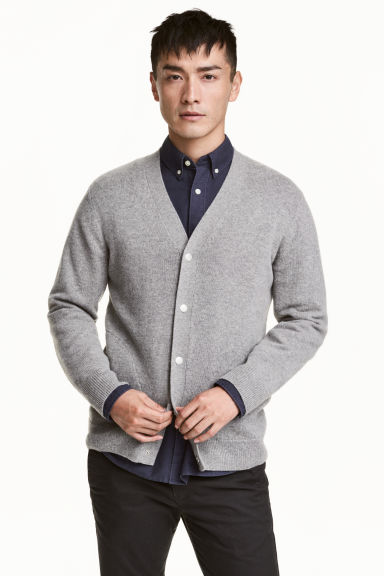 Wool-blend V-neck cardigan Model