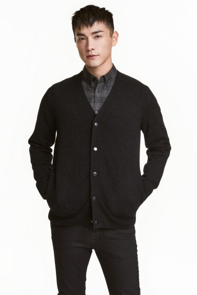 Wool-blend V-neck cardigan - Black marl - Men | H&M CN 1
