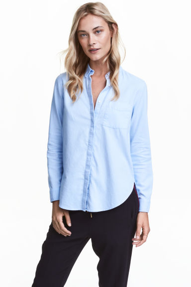 Flannel shirt - Light blue - Ladies | H&M CN 1