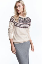 Jacquard-knit jumper - Light beige/Pattern -  | H&M GB 1