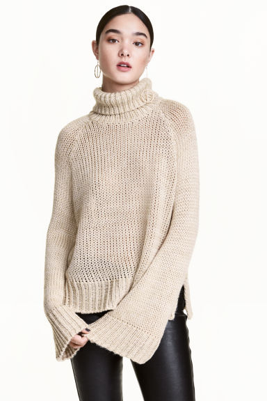 Chunky-knit polo-neck jumper - Light beige - Ladies | H&M GB 1