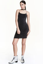 Short strappy dress - Black/Silver - Ladies | H&M CN 1