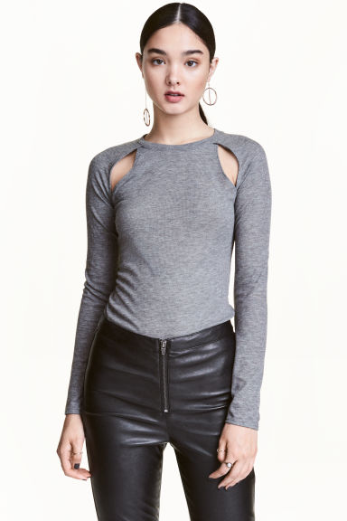 Cut-out top - Grey - Ladies | H&M CN 1