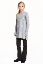 Knitted jumper with sequins - Grey marl - Kids | H&M CN 1