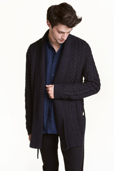 Cable-knit cardigan - Dark blue - Men | H&M CN 1