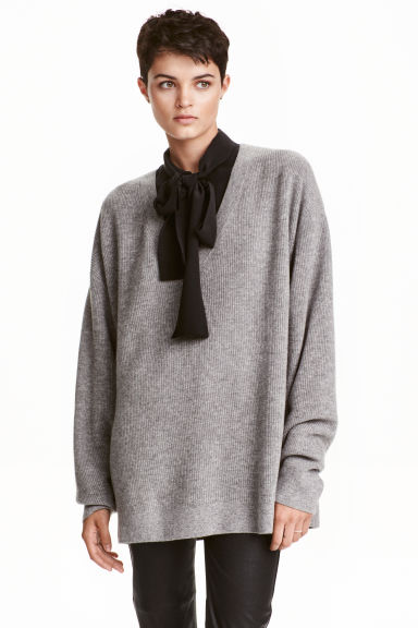 V-neck cashmere jumper - Grey marl -  | H&M IE 1