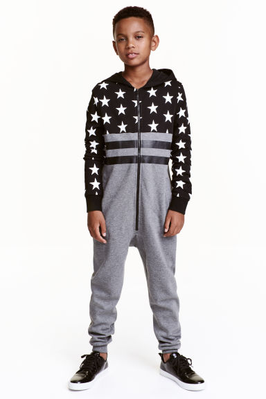 Sweatshirt all-in-one suit - Grey marl/Stars - Kids | H&M CN 1