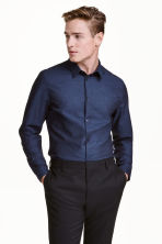 Premium cotton shirt - Dark blue marl - Men | H&M CN 1