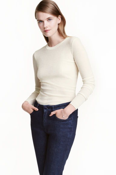 Merino wool jumper - Natural white - Ladies | H&M