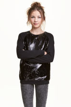 Sequined sweatshirt - Black -  | H&M CN 1