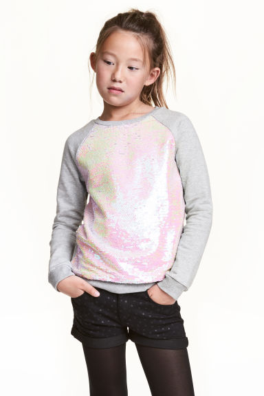Sequined sweatshirt - Grey - Kids | H&M CN 1
