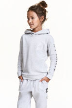 Printed hooded top - Light grey marl - Kids | H&M CN 1
