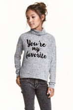 Printed roll-neck jumper - Grey marl - Kids | H&M CN 1