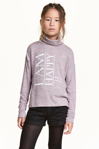 Printed roll-neck jumper - Pink marl - Kids | H&M CN 1