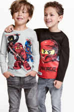 2-pack long-sleeved T-shirts - Grey/Lego - Kids | H&M CN 1