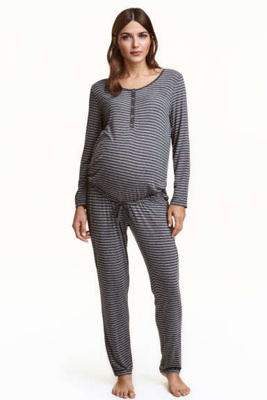 MAMA Striped jersey jumpsuit - Dark grey/Striped - Ladies | H&M CN